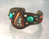 Bracelet, Cuff,  Crazy Lace Agate, Chrysocolla,  Bead Embroidered Cuff Bracelet