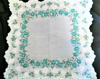 50s 60s Vintage Hankie with Blue Roses Scalloped Edge