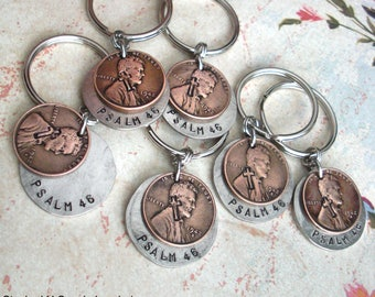 Stacked Penny & Nickel Charm Keychain .. Includes 3 words.. smashed hammered coin w/custom word, date, name stamped. a special gift memento