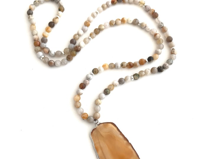 jasper long beaded necklace with agate slice pendant