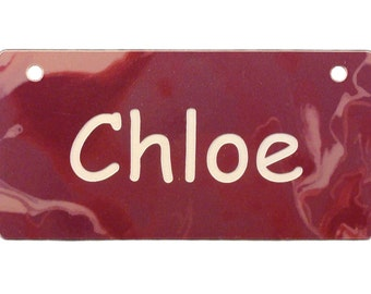 Burgundy Marble Design Crate Tag Personalized with Your Dog's Name - Free Shipping