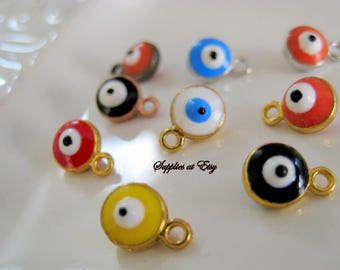Gold silver Evil eye Charm-Multi colored Evil Eye Charm-assorted Colors evil eye-Ships from USA-Evil Eye Protection,Lucky Charm,Hippie