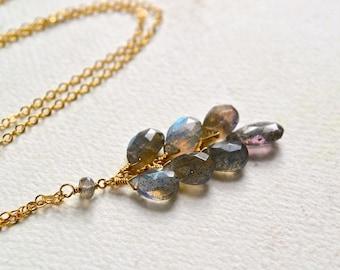 Gray Skies Necklace - labradorite necklace, labradorite tassel necklace, gray labradorite tendril necklace, blue gray labradorite jewelry