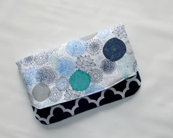 Fabric Clutch, Fold over Clutch, Blue Quatrefoil Handbag, Envelope Clutch, Fabric Foldover Clutch, Evening Purse, Clutch Purse, Wallet