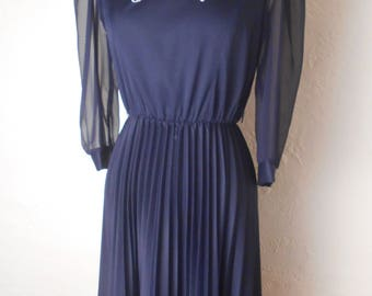 Vintage MOD Dark Navy Blue Dress - 70s Sheer Sleeve Pleated Sz 10P