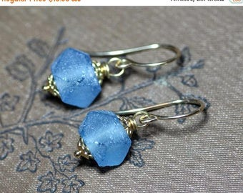 SALE Recycled Glass African Faceted Bead Earrings Blue Earrings Luxe Rustic Jewelry