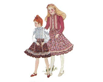 Gunne Sax Girls Pattern Blouse, Skirt and Quilted Jacket Victorian Revival Prairie Simplicity 5625 Size 14 Bust 32 Vintage Sewing Pattern