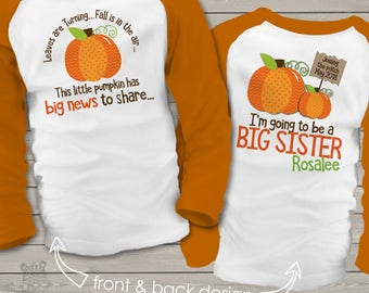 pumpkin big sister shirt- big sister to be fall or halloween pregnancy announcement RAGLAN sleeves SNLF-005-R