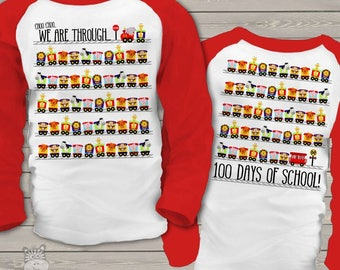 Kids shirt - 100 Days train with animals on front and back raglan shirt MSCL-013-r
