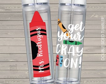 Teacher gift get your crayon personalized clear acrylic tumbler - BPA free  MJT-014