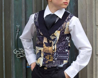 Boys Double Breasted Vest - Steampunk Toddler Clothes - Teens Preteen Steampunk Costume - Steampunk Kids - Vest and Ascot Tie - 2T to Adult
