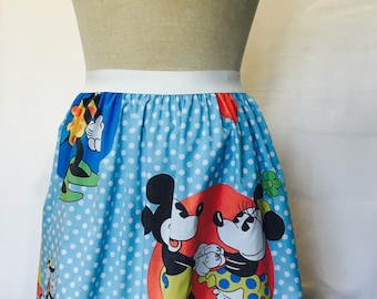 "Mickey and Minnie Ladies Skirt made from vintage upcycled fabric - 30"" - 36"" waist"