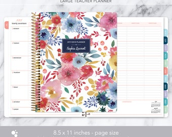 teacher planner 8.5x11 | 2017-2018 lesson plan | weekly teacher planner | personalized teacher planbook | blue pink white watercolor floral