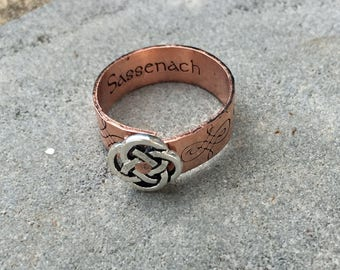 Copper Sassenach Ring, Celtic Ring, Riveted Celtic Knot, Hidden Message Ring, Mixed Metal Celtic Jewelry, Gaelic Ring, Scottish Jewelry