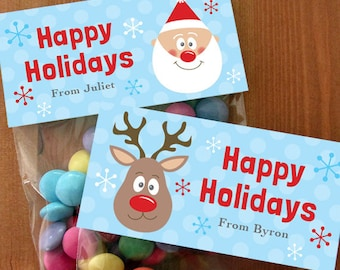 Personalized Christmas Treat Bag Toppers – DIY Printable – Santa and Rudolph(Digital File)