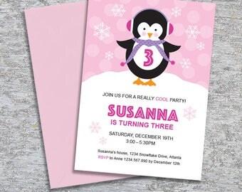 Penguin Birthday Party Invitation – DIY Printable Personalized – Penguin Girl (Digital File)