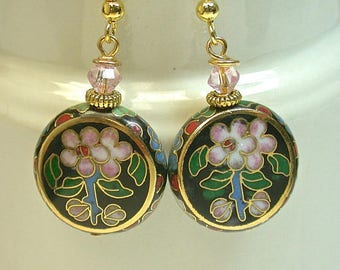 Vintage Chinese Black Cloisonne RARE Lentil Shaped Bead Earrings White Red Green Flowers, Vintage Pink Austrian Crystal Beads