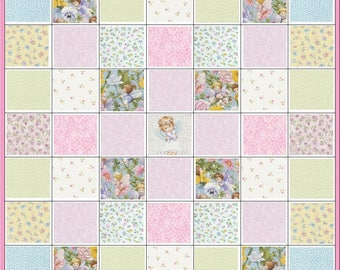 Angels and Daisies~Infant Baby Girl~Precut Quilt Kit Fabric~Angel~Hearts~Rosebuds~QK#131