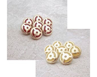 Geometric Metal Buttons, 15mm 5/8 inch - CHOOSE Red, Yellow - 7 VTG NOS Pierced Gold Tone Metal Modernist Mid-Century Buttons MT27 MT28