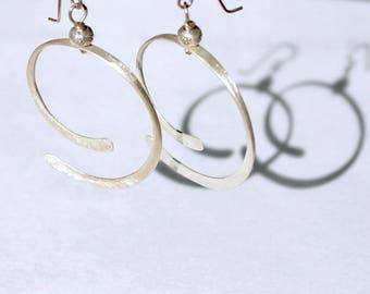 Silver Spiral Hoop Earrings - Fine Silver - Boho Chic Dangle Earrings