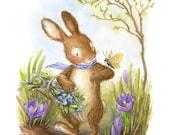PRE-ORDER - Spring Bunny - Illustration, Art Print, Nursery Decor, Easter Bunny, Rabbit, Woodland Animal, Butterfly, Crocus, Spring Art