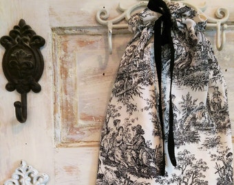 Linen Drawstring Bag | Lingerie Bag | Black and Cream Toile Bag| Bridesmaid Gifts | The Wild Raspberry