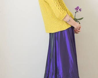 Vintage 90s purple taffeta maxi skirt
