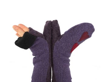 Convertible Flip Top Mittens in Twilight Purple with Hearts - Recycled Wool - Fleece Lined