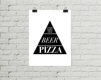 Beer Poster, Pizza Poster, Funny Kitchen Poster, Farmhouse Decor, Beer Prints, Kitchen Decor, Gift for Her, Gift for Him, Christmas Gift