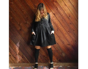 Black Jersey Knit l/s Babydoll Shirt Dress- Vintage 90s - M