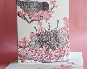 Redbud Thank You or Blank Note Card with Mother and Baby Robins