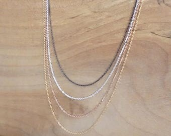 Cable Chain Necklace, Sterling Silver Chain Necklace, Oxidised Silver Chain Necklace, Gold Filled Necklace, Rose Gold Filled Chain Necklace