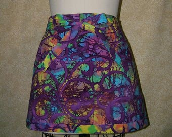 Purple batik apron deep pockets half waiter waitress rainbow colors cotton fully lined top stitched waist tie crafting baking cooking server