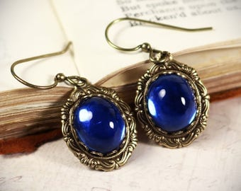 Sapphire Victorian Earrings, Blue Renaissance Jewelry, Medieval Jewelry, Ren Faire Wedding, Bridesmaid Earrings, Bridal, Garb, Angelica