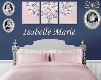 Wall Art Girls Room Large Canvas Painting Triptych - Pink and Blue Indigo Tree - 50x20