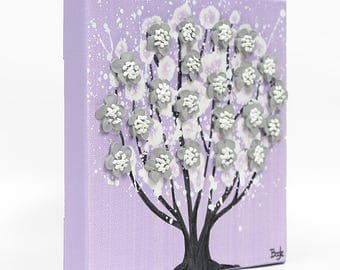 Mini Purple Painting Canvas Art, Cute Gift for Girl, Tree with Sculpted Flowers in Lilac Purple and Gray - Mini 6x6