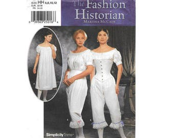 Sewing Pattern Costume - Simplicity #9769  Size HH (6,8,10,12) - Fashion Historian Pattern for 3 Items 19 pattern pieces - Renaissance Faire