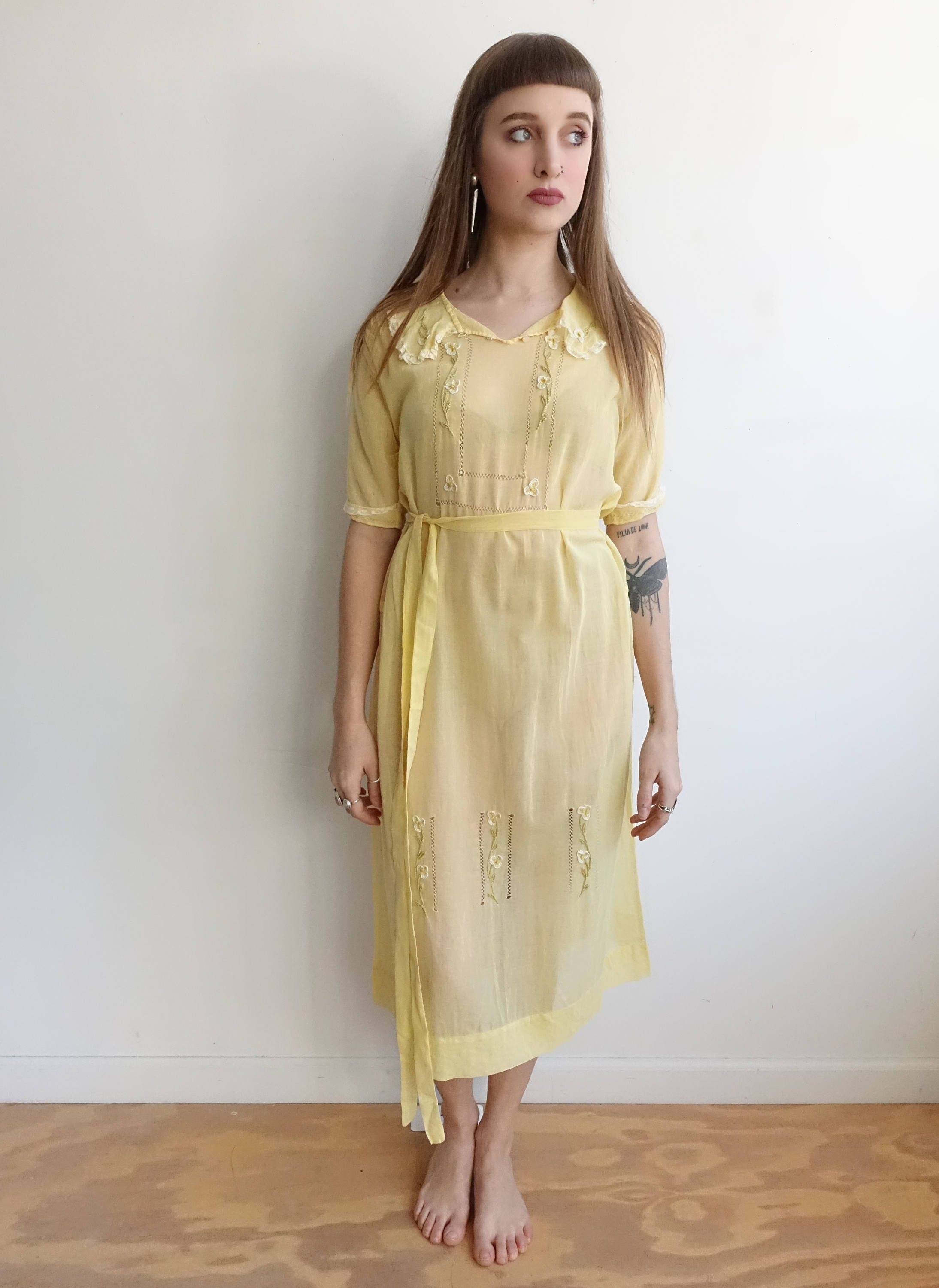 1920s Yellow Cotton Dress with Embroidery and Lace Trim and Fagoting/20s Day Dress/ Medium  Large by bottleofbread