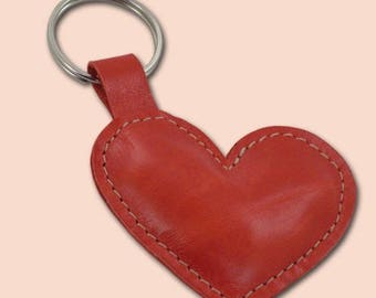 Leather Heart Keychain, FREE Shipping Worldwide Gift For Best Friend Valentines Day Gift Leather Heart Bag Charm For Girlfriend Gift For Him