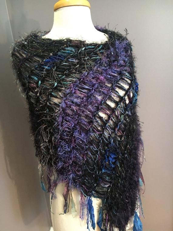 Handmade Knit poncho, Fringed Poncho, Indigo, Fringed Knit Poncho, boho wrap, art poncho, Black Blue Aqua, wearable art, bohemian, huntress