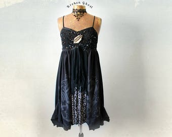 Little Black Dress Empire Waist Bohemian Sundress Leopard Print Artsy Clothing Recycle Upcycled Women's Boho Clothes Layer Dress S M 'BIJOU'