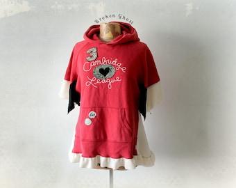 Red Boho Hoodie Pullover Jacket Upcycled Hood Top Hippie Women's Wear Bohemian Clothing Eco Friendly Hoodie Wide Bell Sleeves M L 'DELLA'
