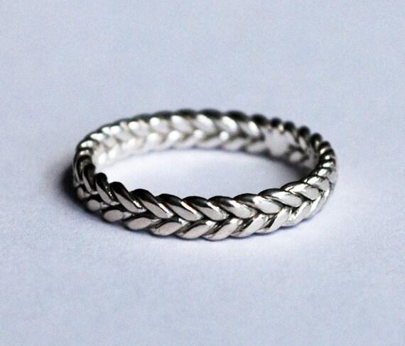 3mm width sterling silver braid ring