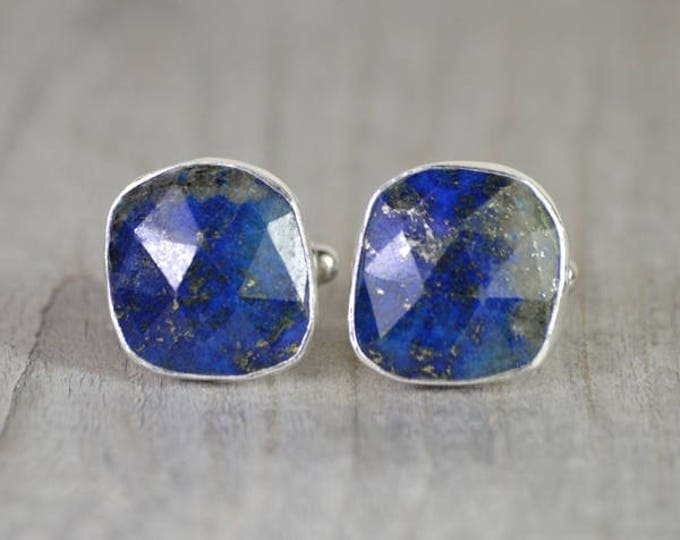 Lapis Lazuli Cufflinks Set In Sterling Silver, Something Blue Wedding Gift For Him, Handmade In England
