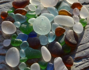 Genuine Beach Sea Glass from Lake Erie, Fresh Finds Mixed Sample Lot with One Drilled Pendant