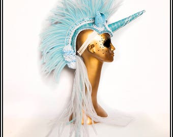 Oh My love… Unicorn Mohawk in Blue and White with Cute Ears and Flowers, Ribbons