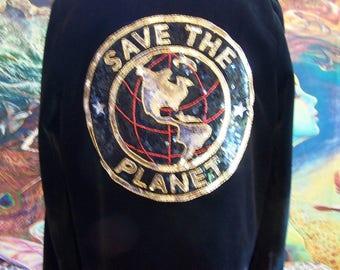 SAVE the PLANET, Paris, Vintage, Velvet, Jacket, Black, Crop, size M