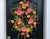 Spring Wreaths, Oval Spring Wreath for Front Door, Gerber Daisy Wreath, Yellow Daisy Wreath, Wreaths for Spring, Spring Door Wreath, Wreaths