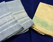 Vintage Hand Woven, Finished Linen Hand/Tea Towels - 2 Sets of 2 each Yellow and Blue, Embroidered - Good Condition