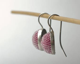 pink cabochon earrings silver